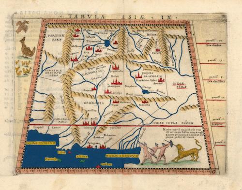 Alexandria Ariana - Tabula Asiae IX: Giacomo Gastaldi (1548)