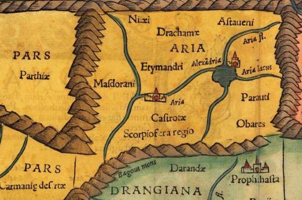 Alexandria Ariana - Tabula Asiae IX: Sebastian Munster (1552)