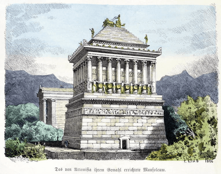 Seven Wonders of the Ancient World - Mausoleum of Halicarnassus (Ferdinand Knab 1886) Color