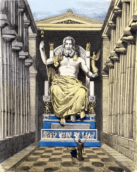 Seven Wonders of the Ancient World - Statue of Zeus at Olympia (Ferdinand Knab 1886) Color